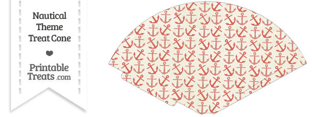 Vintage Red Anchors Treat Cone