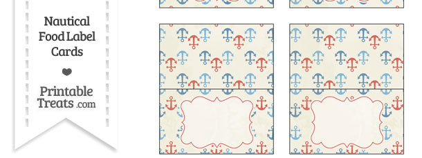 Vintage Red and Blue Anchors Food Labels