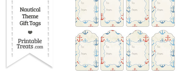 Vintage Red and Blue Anchors Gift Tags
