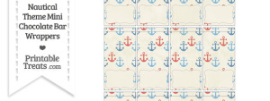 Vintage Red and Blue Anchors Mini Chocolate Bar Wrappers