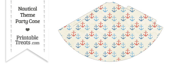 Vintage Red and Blue Anchors Party Cone