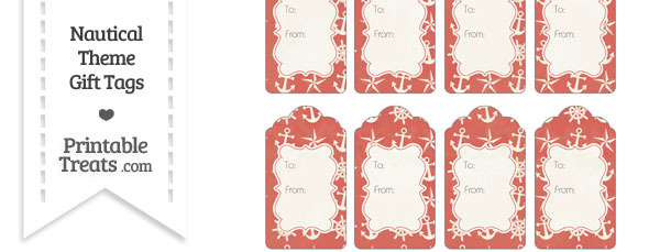Vintage Red Nautical Gift Tags