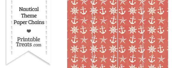 Vintage Red Nautical Paper Chains