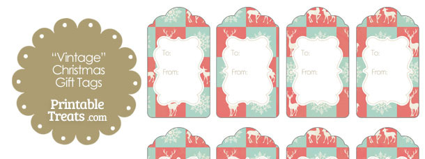 Vintage Reindeer and Snowflakes Gift Tags