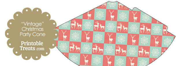 Vintage Reindeer and Snowflakes Party Cone