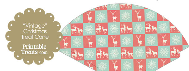 Vintage Reindeer and Snowflakes Printable Treat Cone