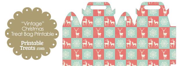 Vintage Reindeer and Snowflakes Treat Bag