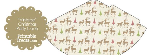 Vintage Reindeer Party Cone