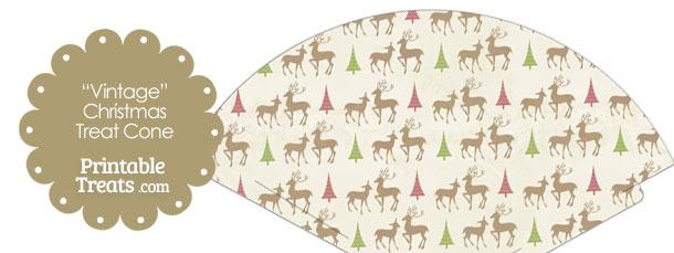 Vintage Reindeer Printable Treat Cone