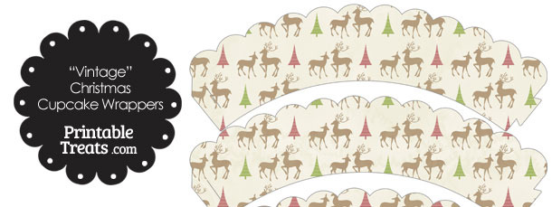 Vintage Reindeer Scalloped Cupcake Wrappers