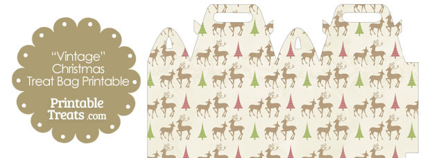 Vintage Reindeer Treat Bag