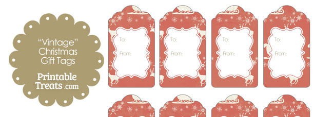 Vintage Santas Sleigh Gift Tags