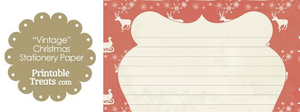 Vintage Santas Sleigh Stationery Paper
