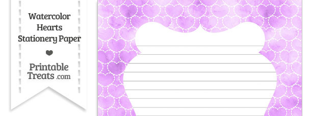 Violet Watercolor Hearts Stationery Paper