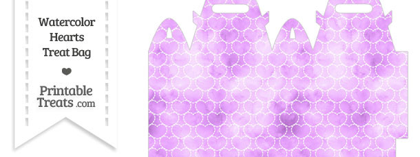 Violet Watercolor Hearts Treat Bag