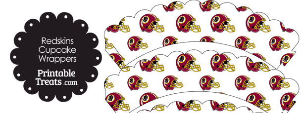 Washington Redskins Football Helmet Scalloped Cupcake Wrappers