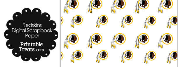 Washington Redskins Logo Digital Paper with White Background