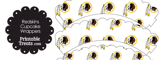 Washington Redskins Logo with White Background Scalloped Cupcake Wrappers