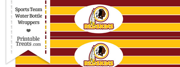Washington Redskins Water Bottle Wrappers