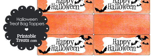 Watercolor Background Bat Treat Bag Toppers