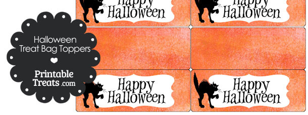 Watercolor Background Black Cat Treat Bag Toppers