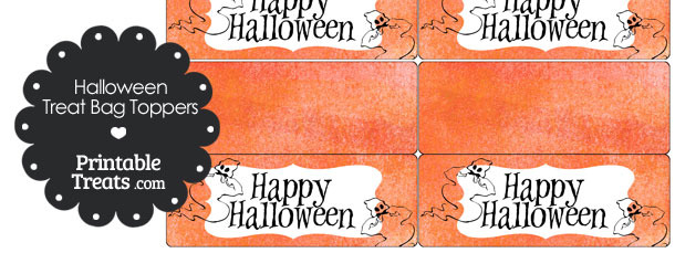 Watercolor Background Ghost Treat Bag Toppers