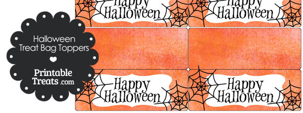 Watercolor Background Spider Treat Bag Toppers