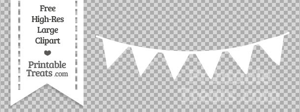 White Pennant Bunting Banner Clipart — Printable Treats.com