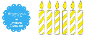 Yellow and White Birthday Candle Cut Outs from PrintableTreats.com