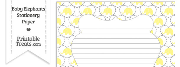 Yellow Baby Elephants Stationery Paper