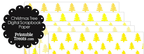Yellow Christmas Tree Digital Scrapbook Paper