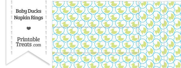 Yellow Green Baby Ducks Napkin Rings