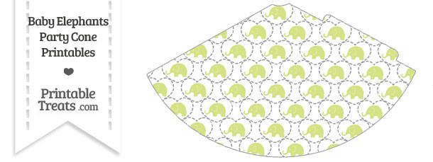 Yellow Green Baby Elephants Party Cone