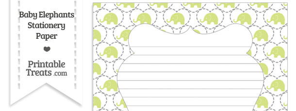 Yellow Green Baby Elephants Stationery Paper
