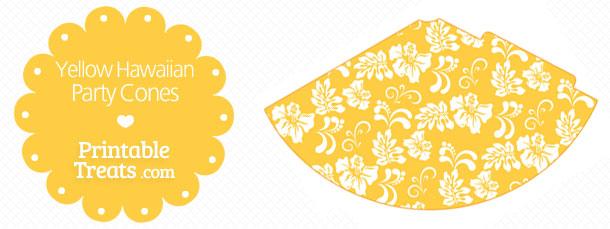 free-yellow-hawaiian-pattern-party-cones