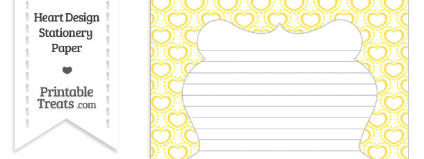 Yellow Heart Design Stationery Paper