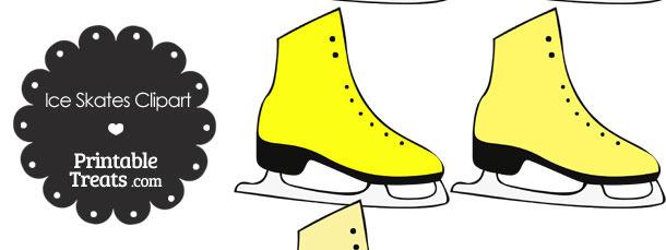 Yellow Ice Skates Clipart