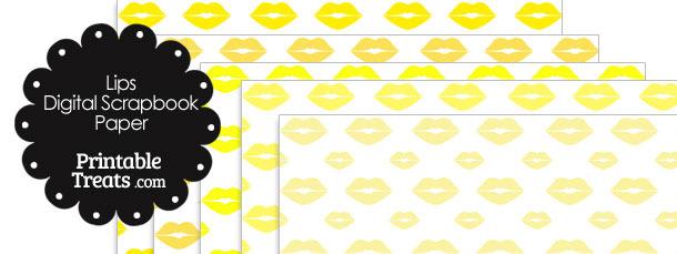 Yellow Lips Digital Scrapbook Paper