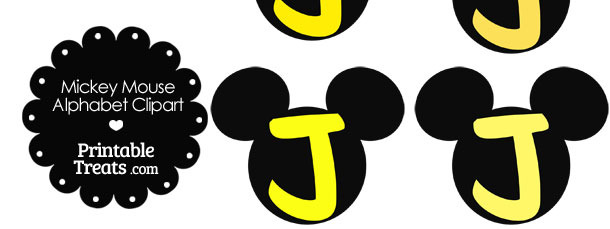 Yellow Mickey Mouse Head Letter J Clipart Printable Treats Com