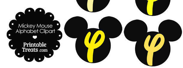 Yellow Mickey Mouse Head Letter Y Clipart