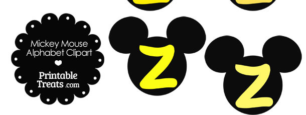 Yellow Mickey Mouse Head Letter Z Clipart