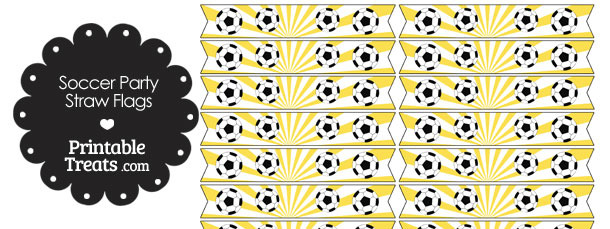 Yellow Soccer Party Straw Flags