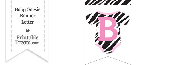 Zebra Print Baby Onesie Bunting Banner Letter B