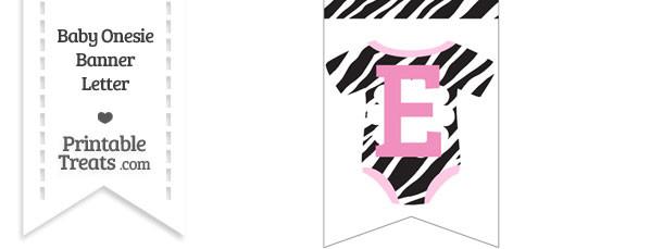 Zebra Print Baby Onesie Bunting Banner Letter E