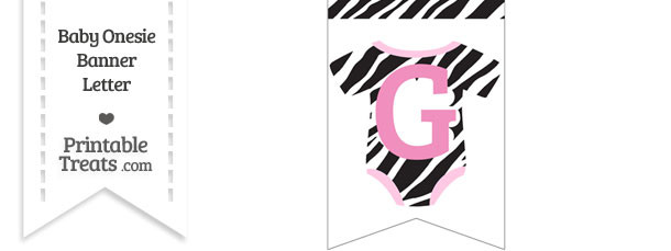 Zebra Print Baby Onesie Bunting Banner Letter G