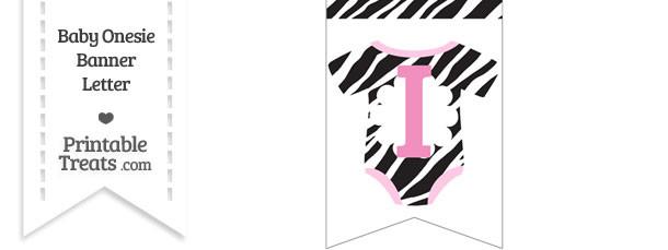 Zebra Print Baby Onesie Bunting Banner Letter I