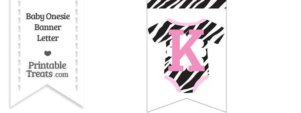 Zebra Print Baby Onesie Bunting Banner Letter K