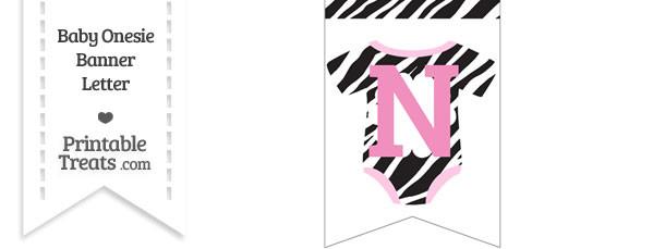 Zebra Print Baby Onesie Bunting Banner Letter N