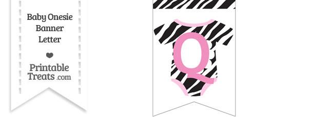 Zebra Print Baby Onesie Bunting Banner Letter Q