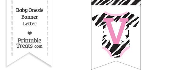 Zebra Print Baby Onesie Bunting Banner Letter V